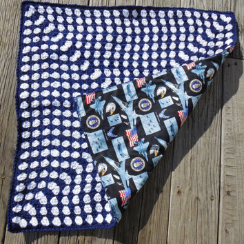 Military, US Air Force, Crochet Baby Blanket, Granny Square, Reversible Crochet Baby Blanket, Cotton Fabric, 26 x 26