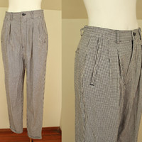 80s/90s - Black & White- Gingham Plaid - Pleated - High Waist - Cotton - Trouser Pants - Womens