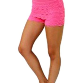 Crochet lace layered shorts with banded waist, Neon Fuchsia