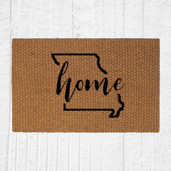 Custom State Home Welcome Doormat, Outdoor Rug, Entry Rug, Home Decor, Welcome Mat, Housewarming Gift, Front Door Decor, Personalized Mat