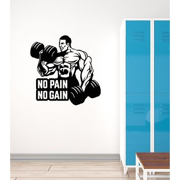 Vinyl Wall Decal Bodybuilder Fitness Quote Gym Center Sports Stickers Mural (ig6101)