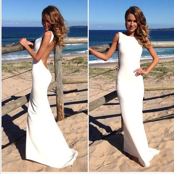 Backless Prom Dress White Sheath Party Dress So Sexy Jewel Neckline Floor Length Girls Prom Dresses Long Wedding Party Guest Gown