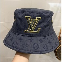 LV New fashion embroidery letter monogram sun protection cap fisherman hat Blue