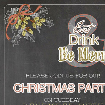 Chalkboard Christmas invitation / Custom printable Christmas dinner Invitations / Modern Christmas party invites green red invitation card