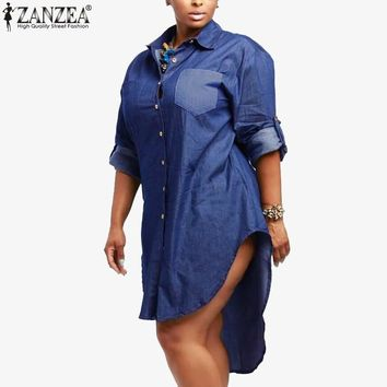 2017 Autumn ZANZEA Women Oversized Dress Denim Vintage Lapel Long Sleeve Irregular Hem Long Jeans Blouses Shirts Plus Size Tops