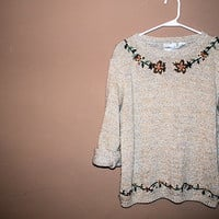 oversize sweater flowers floral tumblr hipster grunge cute comfortable oversized one size fits all