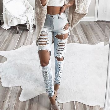 Fashion Personality Ripped Worn Hollow Jeans Trousers Women Pencil Pants