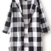 Black and White Plaid Loose Fitting Blazer