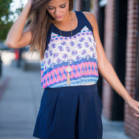 Contrast Love Tank, Navy-Pink
