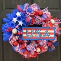 Patriotic USA Stars Deco Mesh Wreath