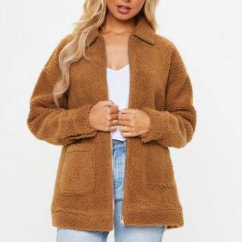 Missguided - Rust brown Borg zip through jacket