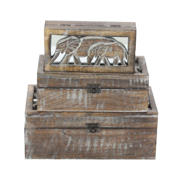 Benzara Vintage Wood Box With Elephant Engraving Lid, Set Of 3