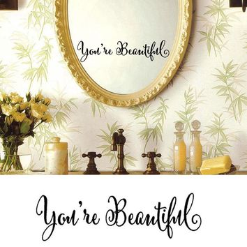 You're Beautiful No Soliciting Wall Art Removable Home Vinyl Window Wall Stickers Decal Decor Fancy