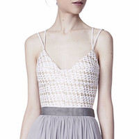 Ciudadela  White  And  Gold  Tweed  Bustier  Top