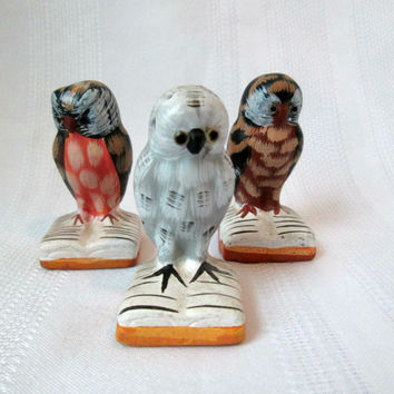 Vintage Owl Figurines Three (3) Hand Painted Wise Owls On Open Books