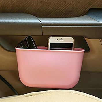 WINOMO Car Hanging Trash Can Auto Garbage Litter Bin Bag Organizer Storage Holder (Pink)