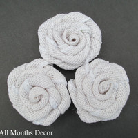 Set of 20 Off White Burlap Rosettes, Roses Flowers, Rustic Country Decor, Wedding Decorations, DIY Craft Projects, Events, Party, Home