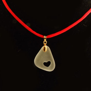 Beach Glass White Soft Pendant Assimetric with Carved HEART- Mother Day Gift Sea Glass Bead Jewelry Supplies