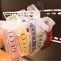 GUCCI Popular Summer Sweet Women Letter Print Mesh Lace Bowknot Hair Hoop Headband(5-Color) I12535-1