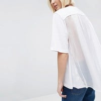ASOS WHITE Tulle Cape Back T-Shirt at asos.com