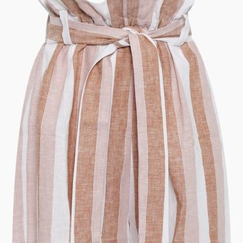 Striped Clochard Shorts - Porto Rose Stripe Print