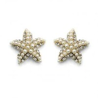 Pearl and Crystal Starfish Earrings