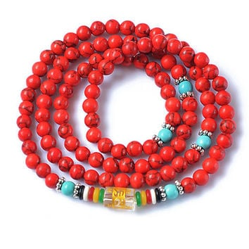Red Turquoise Tibetan Buddhist Mala Prayer Beads Necklace or Bracelet, Gourd for Meditation