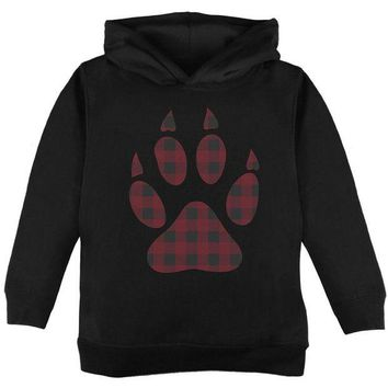 LMFCY8 Autumn Buffalo Plaid Bear Claw Paw Toddler Hoodie