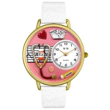 SheilaShrubs.com: Unisex Nurse Red White Skin Leather Watch G-0620040 by Whimsical Watches: Watches