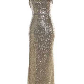 Gold Tone Glitter Asymmetrical Formal Dress With Shoulder Bow