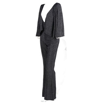 Trumpet Sleeves Gray Flare Jumpsuit