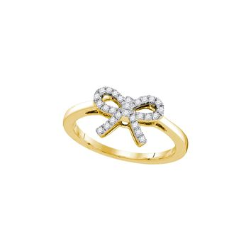 10kt Yellow Gold Womens Round Diamond Ribbon Bow Knot Ring 1/6 Cttw