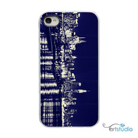 On Sale! New York City at Night Skyline with White or Black Sides iPhone Case - IPhone 4, 4S, 5, 5S, 5C Hard Cover - Trendy artstudio54