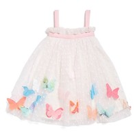 Infant Girl's Halabaloo Butterfly Applique Swiss Dot Sleeveless Dress