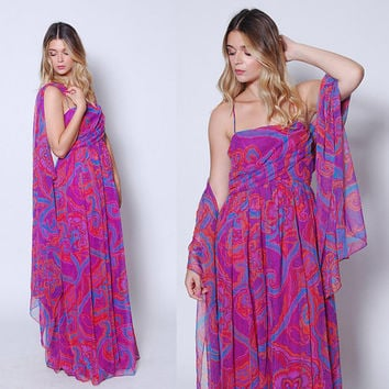 Vintage 70s Purple CHIFFON Maxi Dress PSYCHEDELIC Print Dress with SCARF 70s Boho Dress