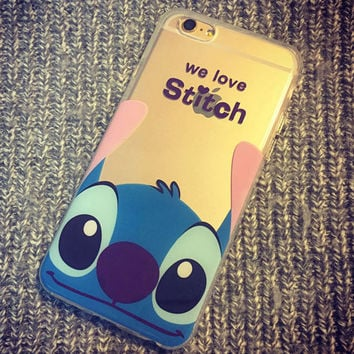 Fashion Transparent Ultra Thin Soft TPU cute cartoon Stitch for iPhone 6 6 Plus 6s Plus 5s 5 5c 4 4s Silicone clear phone Case