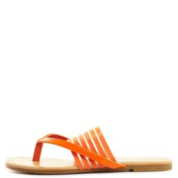 Sheer-Striped Banded Thong Sandals by Charlotte Russe
