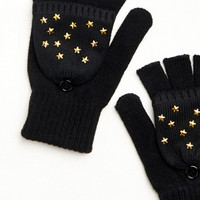 Black Fold Over Gloves with Stars