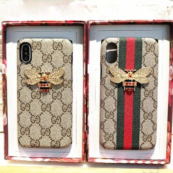 GUCCI Fashion Bee iPhone Phone Cover Case For iphone 6 6s 6plus 6s-plus 7 7plus iPhone X XR XS XS MAX