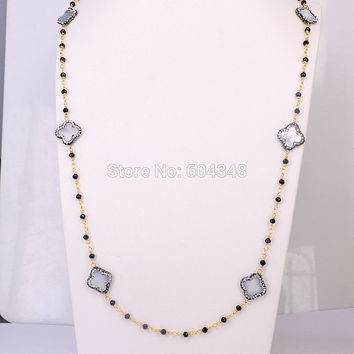 3Strands Pave Crystal Clover Shell Beads Wire Wrapped Beaded Chain Necklace, Rosary chain Black color faceted beads Necklace