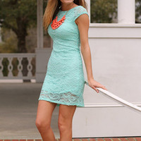Paisley Lace Dress, Mint
