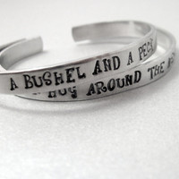 Personalized Friendship Bracelet SET OF TWO - A Bushel and a Peck - Hand Stamped Aluminum Cuff - customizable
