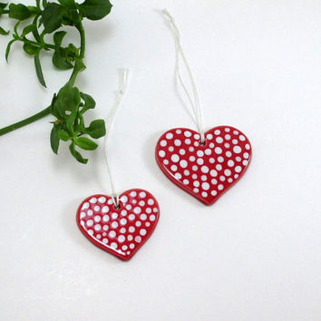 heart ornament,set of 2,christmas ornament,home decor,christmas decor,tree ornament,christmas decoration heart,holiday decor,heart ornaments
