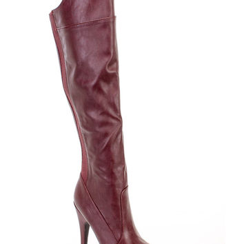 Oxblood High Heel Platform Boots Faux Leather