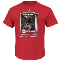 Majestic Los Angeles Angels of Anaheim Star Wars Darth Vader Baseball Card Tee