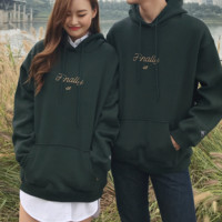 SEEKDrawstring Lettering Embroidered Hoodie | mixxmix