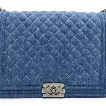 Chanel Denim Boy Chanel Silver Metal Chain Shoulder Bag Blue 5820