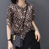"""""""LOUIS VUITTON"""" Woman's Leisure  Fashion Letter Personality Printing  Short Sleeve Shorts Two-piece set"""