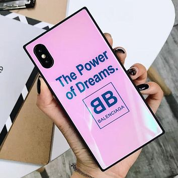 BALENCIAGA Popular Women Men Glass Mobile Phone Shell Soft Case For Iphone 7plus Iphone X iPhone 6s/8plus Pink I12291-1