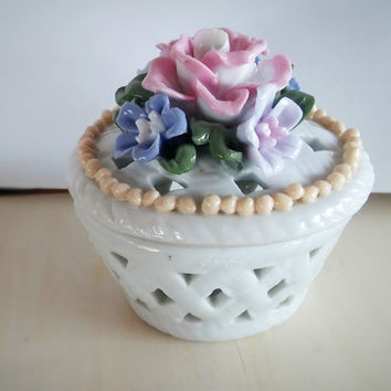 Porcelain Trinket Dish / Floral Vintage China Jewelry Box
